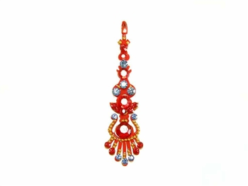 Bright red bindi base with red and blue crystals and gold accents.