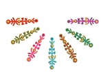 Bright rainbow colored bindi with small gold accents.