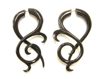 Black horn drop curls with a long tail are some of our most beautiful earrings.