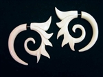 Fancy Tribal Spiked Spiral Earrings Buffalo Bone Split Expanders Organic Jewelry
