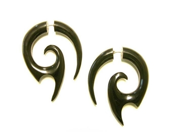Black horn faux tapers in an edgy design that looks like dragon teeth.