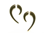 Black horn earrings in a classic crescent shape with an elongated tail.