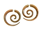 Funky Maori Pierced Spirals Carved Wood New Pair Tribal Organic Earrings