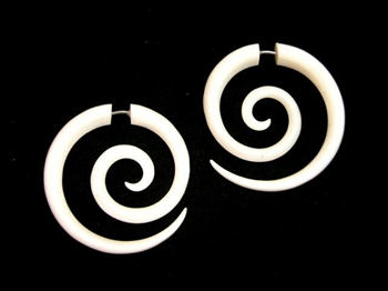 Funky Maori Pierced Spirals Carved Buffalo Bone New Pair Tribal Organic Earrings