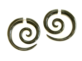 Funky Maori Pierced Spirals Carved Buffalo Horn New Pair Tribal Organic Earrings