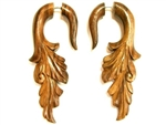 Carved Leaf Split Expanders Wooden Natural Sono Wood Earrings 2.5""