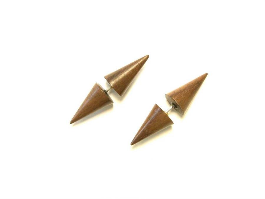 Spiked Fake Plugs Taper Earrings Wood Men Women