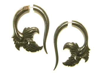 Delicate leaf carving on a large taper hook design taper earring.