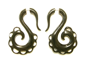 Black horn fake taper earrings in a s shape design with a scalloped edge.