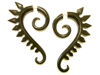 Made of black horn in a spiral design that drops down a couple inches and covered in spikes, these earrings are rocker fantastic!