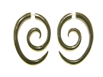 Oblong spiral fake tapers carved from black buffalo horn.