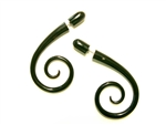 Two inch long fake gauges with a spiral at the bottom in black horn.