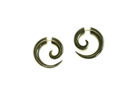 "Domestic water buffalo horn earrings carved into a spiral only 1"" long."
