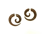 "Organic sono wood earrings carved into a spiral only 1"" long."