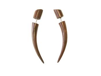 Pierced Tusks Wood New Pair Tribal Organic Wooden Earrings Maori Jewelry