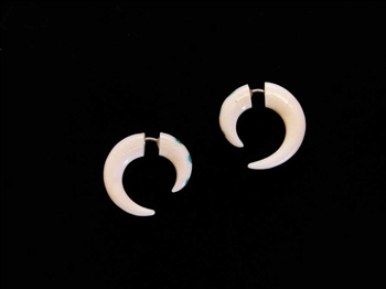 "Domestic water buffalo bone earrings carved into a spiral only 1"" long with turquoise inlay."