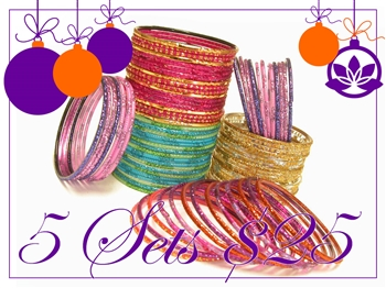 Five sets of custom selected glass Indian bangles in a variety of colors and textures.