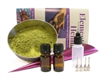 Body art quality ORa Organic Rajasthani henna powder kit with henna tools for dark color henna stains.
