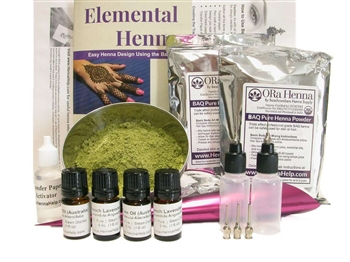 Huge henna tattoo kit wit 200 grams of henna.  All the mehndi tools you need, applicator bottles, transfer paper, hand rolled cones, and henna design book.