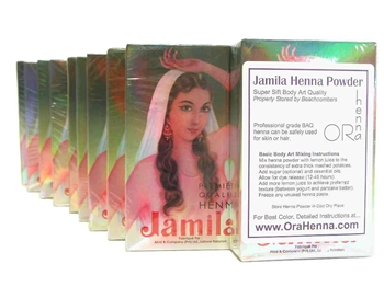 Discounted prices of a kilo of Jamila henna powder for skin or hair henna. All Jamila is professional grade BAQ certified henna.