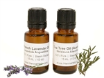 Tea tree and lavender essential oils for mehndi henna paste. Two 1/2 ounce bottle for 1 ounce total.