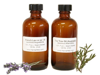 Bulk tea tree and lavender essential oils for mehndi henna paste. Two 4 ounce bottles for 8 ounces total.