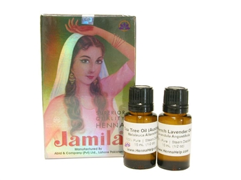Discounted combo pack of Jamila henna powder and essential oils. Mehndi oils are high quality tea tree and lavender essential oils for dark staining henna paste.