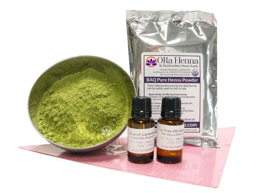 Henna Refill Kit Fresh Powder Henna Mehndi Oil Cello Cones