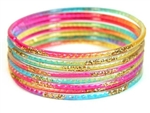 Gold Glitter Rainbow Indian GLASS Bracelets Build-A-Bangle M/L 2.10