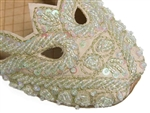 Creamy ivory sateen shoes with iridescent beads and sequin flats for women.