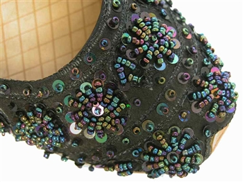 Black silk khussa with iridescent beads and sequins.