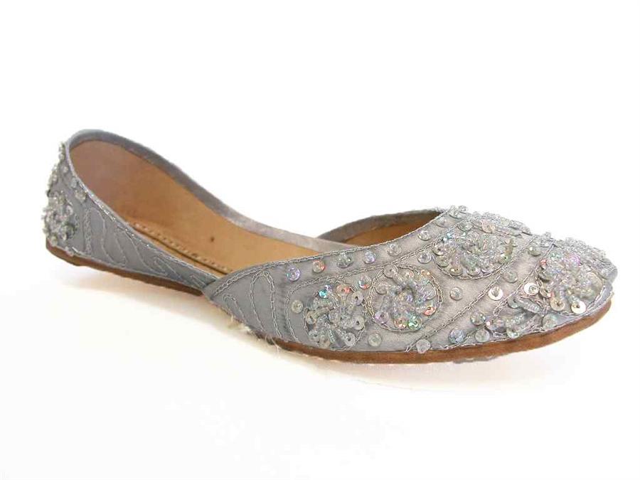 2b85416b313 Silver Beaded Khussa Indian Wedding Shoes Quinceanera Jutti Bridal Flats 8