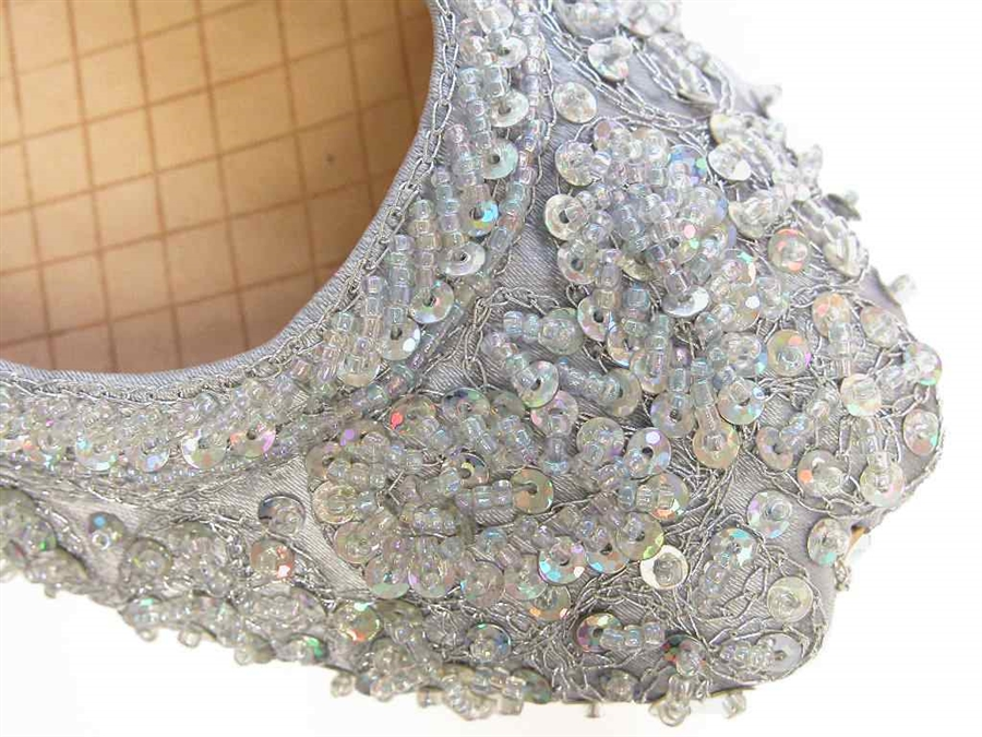 Silver silk Indian khussa shoes are covered with beads and sequins for women . - Beautiful Beaded Silver Flat Shoes