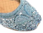 Light blue silk shoes with matching beads and sequins.