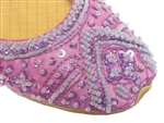 Lavender silk with matching beads and sequins make these shoes pretty.