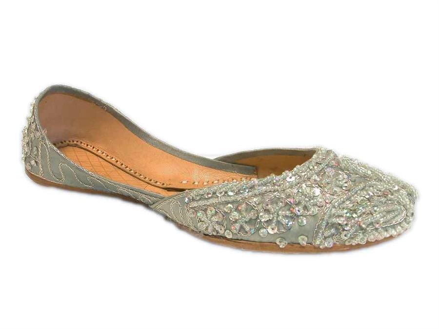 f4229b20795 Ice Silver Blue Beaded Khussa Indian Wedding Shoes Jutti Bridal Flats 6