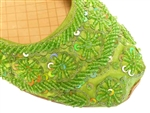 Parrot green silk with lime green beads and sequins in classic sari shoe style.