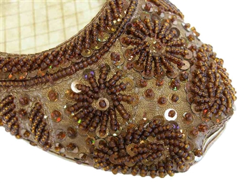 Warm brown silk with matching beads and holographic sequins in a classic belly dance Indian shoe.