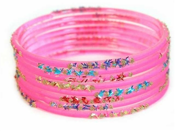 Confetti Hot Pink Indian GLASS Bracelets Build-A-Bangle M/L 2.10
