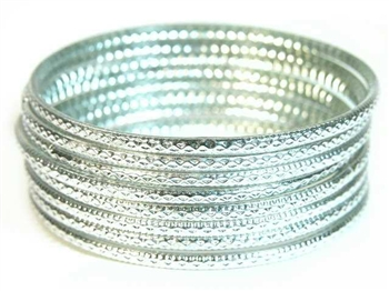 Stamped Silver Indian GLASS Bracelets Build-A-Bangle M/L 2.10