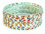 Glitzy Silver Holographic Indian GLASS Bracelets Build-A-Bangle M/L 2.10