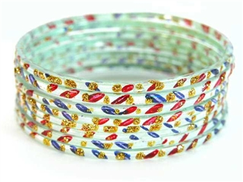 Silver Indian GLASS Bracelets Build-A-Bangle S 2.6