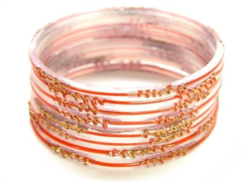Red White Indian GLASS Bracelets Build-A-Bangle S 2.6