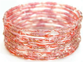 Red/Orange India GLASS Bracelet Build-A-Bangle M/L 2.10
