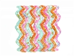 Sky blue, orange, and pink zig zag bangle jewelry with water spot details.