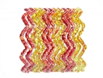 Red and warm yellow zig zag bangles with water spot detail.