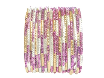Matte gold and silver bangles with purple glitter accents.