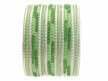 Lime Parrot Green Glass Bangles