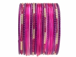 Magenta and Purple Glass Bangles