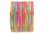 Rainbow Bangles with Gold Glitter